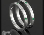 Pair of Two Bezel Set Emerald Bands with Hand Vine Engraving - LS2017