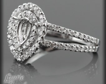 Pear Shaped Diamond Semi Mount with Double Halo and Split Shank - LS677
