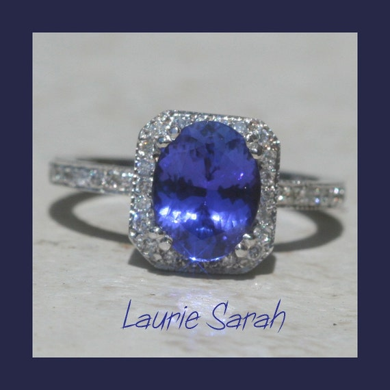 Alternative Engagement Ring, Tanzanite and Diamond Ring - Oval with full Eternity Band and Double Prongs - LS514