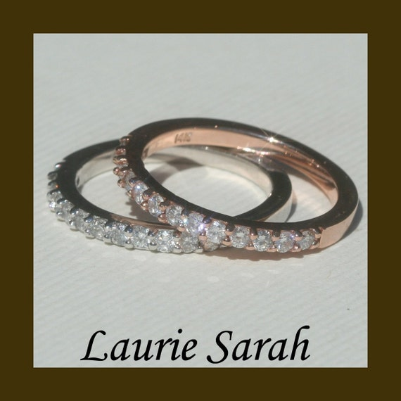 Diamond Rings, Diamond Half Eternity Bands Choose your color of 14kt Gold - LS546