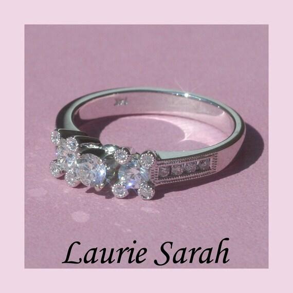 Diamond Engagement Ring - Diamond Flowers with Milgrain - LS893