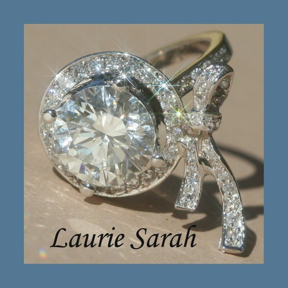Laurie Sarah Designs Exclusive, Diamond Bow Engagement Ring with 3 carat diamond - LS277