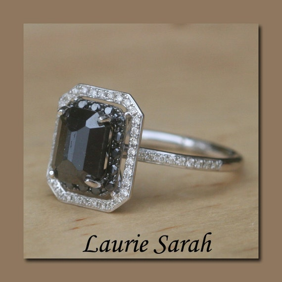 Emerald Cut Black Diamond Engagement Ring with Black and White