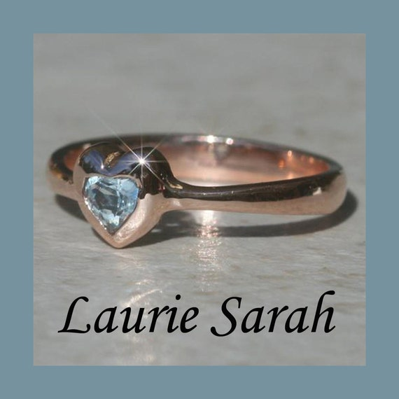 Aquamarine Engagement Ring, March Birthstone Ring, Bezel Set Heart Ring in 14k Rose Gold (Customizable) - LS1217