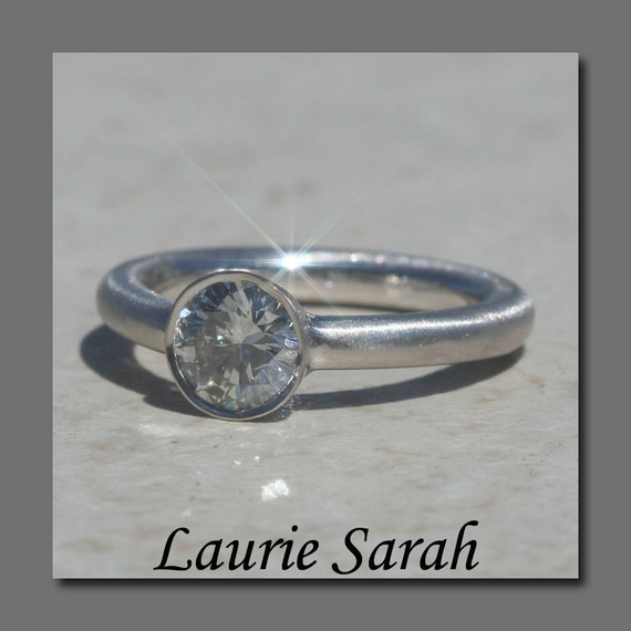 Laurie Sarah Bezel Set Round 1 carat Diamond Engagement Ring in 14kt White Gold - Matte Finish - LS1668