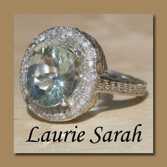 Laurie Sarah Engraved Prasiolite and Diamond Ring - Statement Right Hand Ring - LS1258