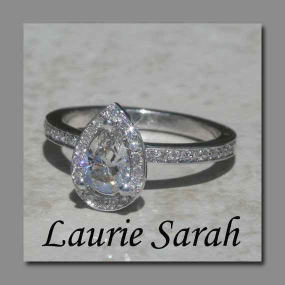 Diamond Pear Cut Engagement Ring - Single pave halo and half eternity shank - LS1104