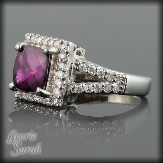 Engagement Ring, Rhodalite Garnet and Diamond Ring with Split Shank - LS293