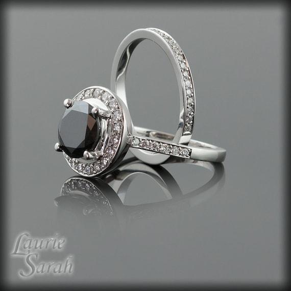3 Carat Round Black Diamond Engagement Ring by LaurieSarahDesigns
