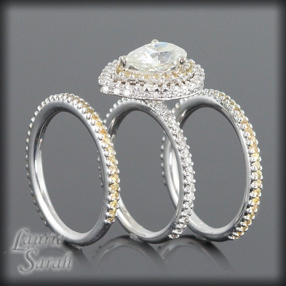 Pear Shaped Moissanite Engagement Ring Wedding Set with Yellow Sapphires & Diamonds - LS1515