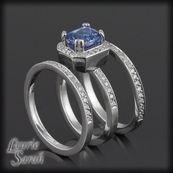 Wedding Ring Set, Tanzanite Engagement Ring with Two Diamond Half Eternity Bands - Square Cushion Cut - LS424