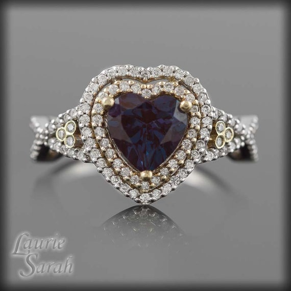 Alexandrite Ring - Heart Shape Lab Alexandrite Engagement Ring with Double Halo - LS1675