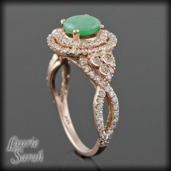 engagement ring cabochon jade and diamond double halo and. Black Bedroom Furniture Sets. Home Design Ideas