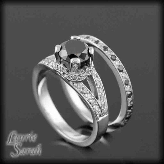 Black Diamond Engagement Ring, Black and White Diamond Wedding Set - Crown setting, split shank - LS1250