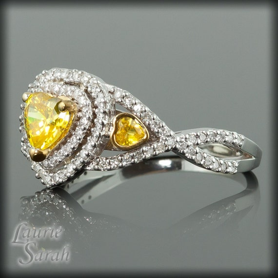 Yellow Sapphire Ring, Heart Shaped Yellow Sapphire and Diamond Double Halo Engagement Ring with Twisted Shank - LS1878