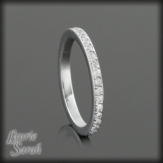Diamond Ring, Pave Set Diamond Eternity Band, Mother's Ring, April Birthstone Ring - Also Available in Colored Stones - LS1304