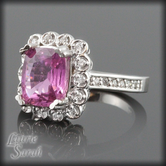 Engagement Ring, Pink Sapphire and Diamond Engagement Ring in 14kt White Gold - 8x10mm Rectangular Cushion Cut - LS1816