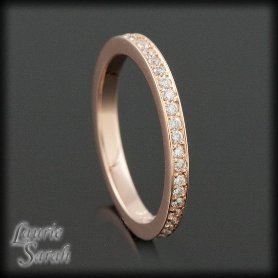 Diamond Ring, Diamond Wedding Band, Diamond Rose Gold Almost Eternity Ring - LS1959