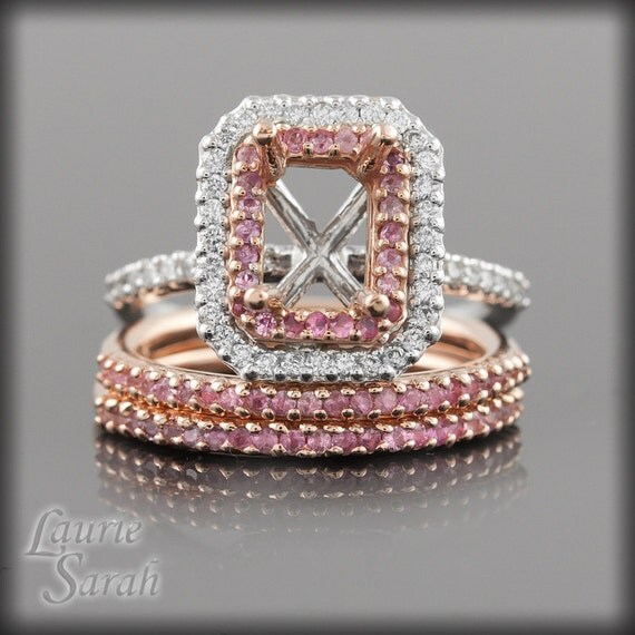 Pink Sapphire and Diamond Semi Mount Engagement Ring with Two Matching Pink Sapphire Wedding Bands - LS1952