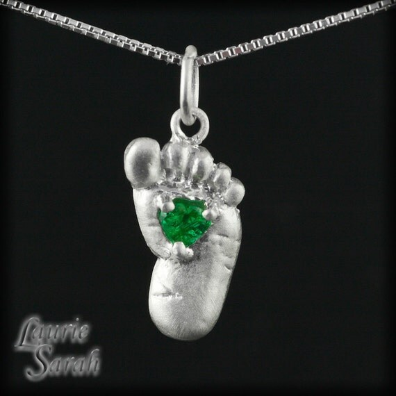Emerald Pendant - May Birthstone Baby Foot Pendant in 14k White Gold - Push Present for New Mom or Gift for Grandma - LS1803