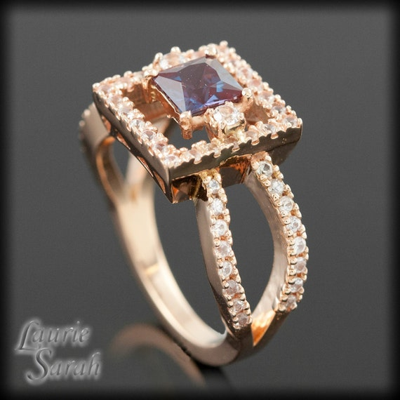 Princess Cut Lab Alexandrite and White Sapphire Ring - Diamond Alternative - LS1967