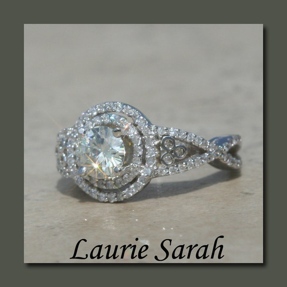 Moissanite Engagement Ring with Diamond Double Halo and Split Shank - LS1749