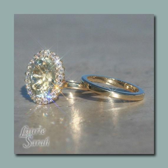Engagement Ring, Oval Flush Mount Prasiolite Wedding Set with Diamond Halo and Gold Wedding Band - LS1769