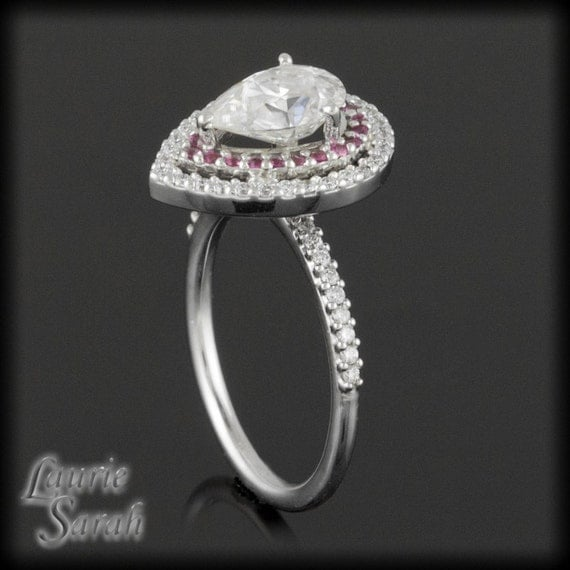 pear moissanite with pink sapphire diamond by. Black Bedroom Furniture Sets. Home Design Ideas