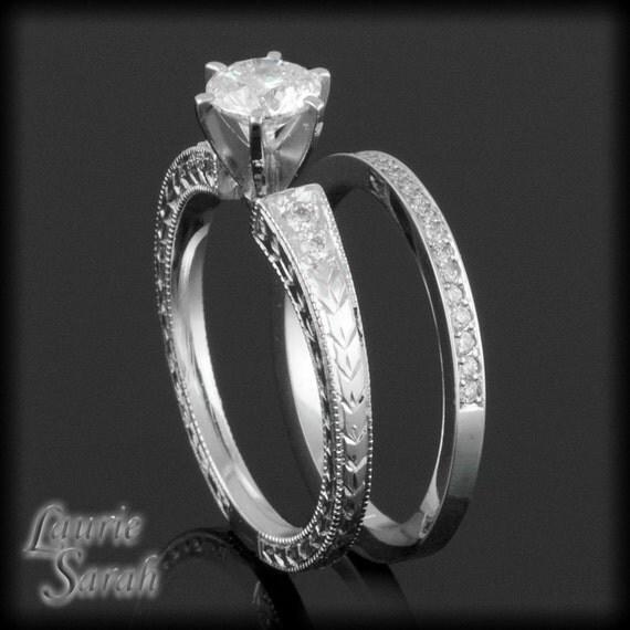 Wedding Bands Vintage Inspired Diamond Wedding Ring Set With