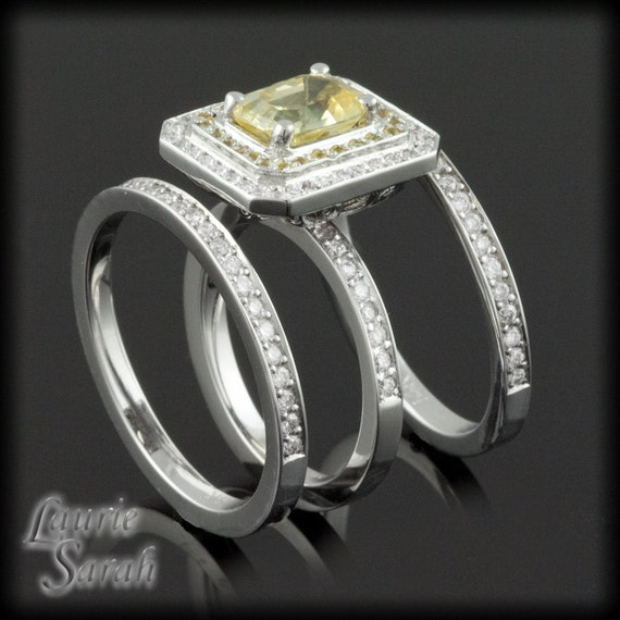 Asscher Cut Yellow Sapphire Three Ring by LaurieSarahDesigns