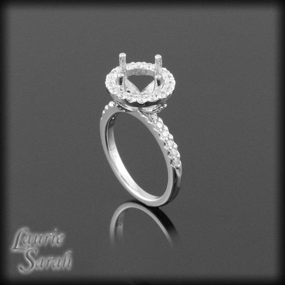 Engagement Ring, 14kt White Gold Diamond Halo Engagement Ring Semi Mount - LS1079