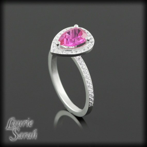 Pink Engagement Ring, Pear Cut Pink CZ Right Hand Ring with White CZ Halo, Custom Jewelry is our Specialty - LS2082