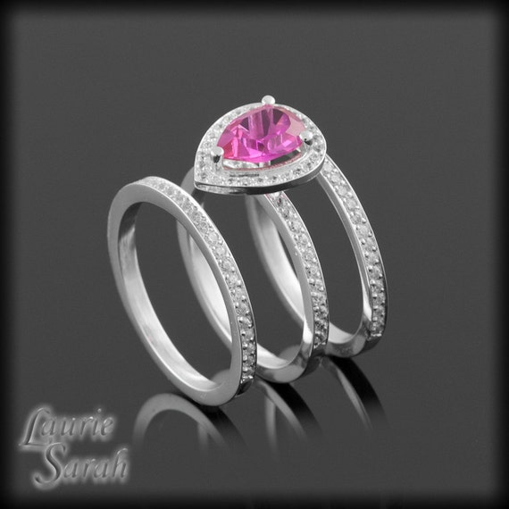 Pink Engagement Ring, Hot Pink CZ Three Ring Wedding Set in Fine Gold with White CZs - LS2083