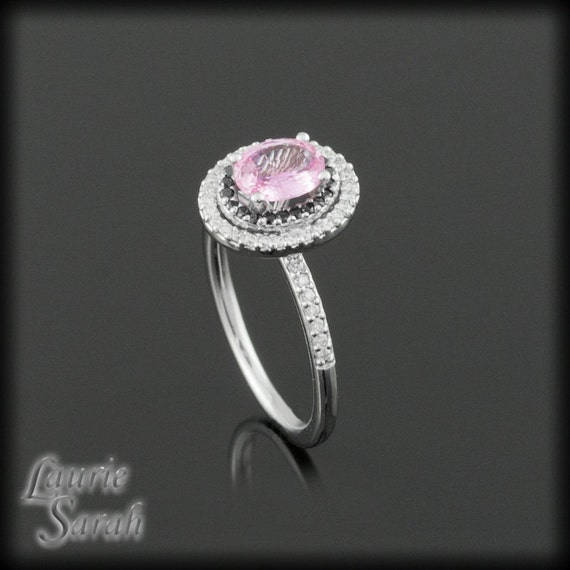 Pink Sapphire, Black and White Diamond Engagement Ring - LS529