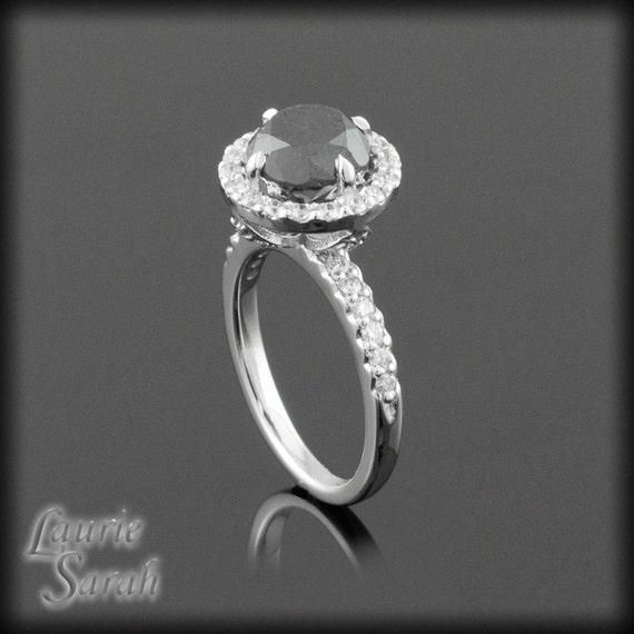 Black Diamond Engagement Ring, Fang Prong Black Diamond Engagement Ring with Diamond Halo - LS1218