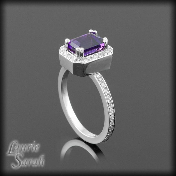 Amethyst Ring, Amethyst and Diamond Ring for your Engagement, Wedding, or Just Because - February Birthstone - LS141