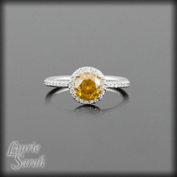 Diamond Engagement Ring, Fancy Colored Orange Diamond Engagement Ring with Hidden Hearts and White Diamond Halo LS1308