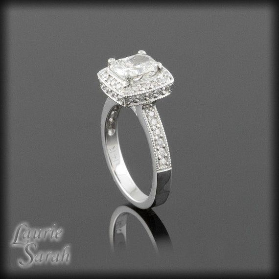 Engagement Ring, 1 Carat Square Cushion Cut Diamond Engagement Ring - Completely Handmade Just for You - LS948