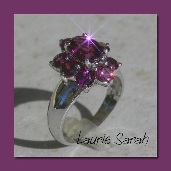 Flower Engagement Ring, Rhodalite Garnet Flower Ring - Bold and Beautiful Statement Ring - LS393