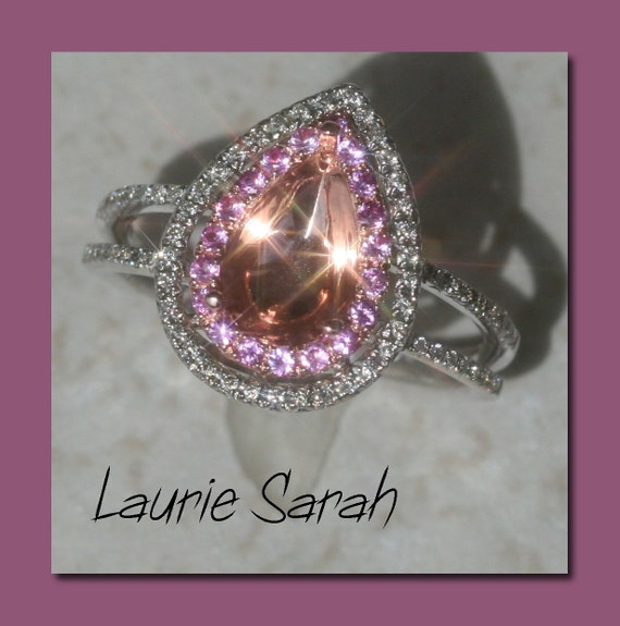 Pink Sapphire and Diamond Semi Mount with Split Shank and Double Halo - Free US Overnight Shipping and Gift Box - LS No. 441