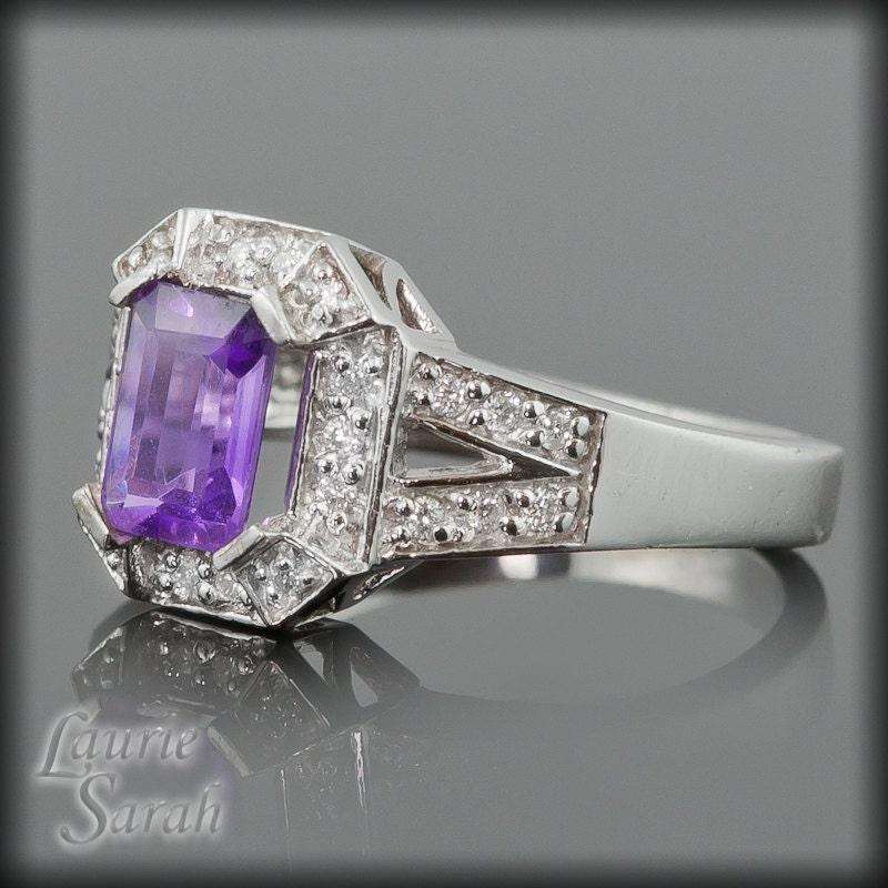 amethyst engagement ring emerald cut amethyst and