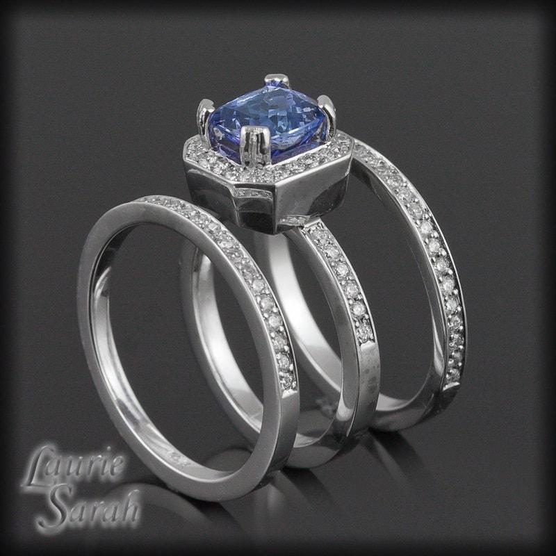 Wedding Ring Set Tanzanite Engagement Ring with Two Diamond