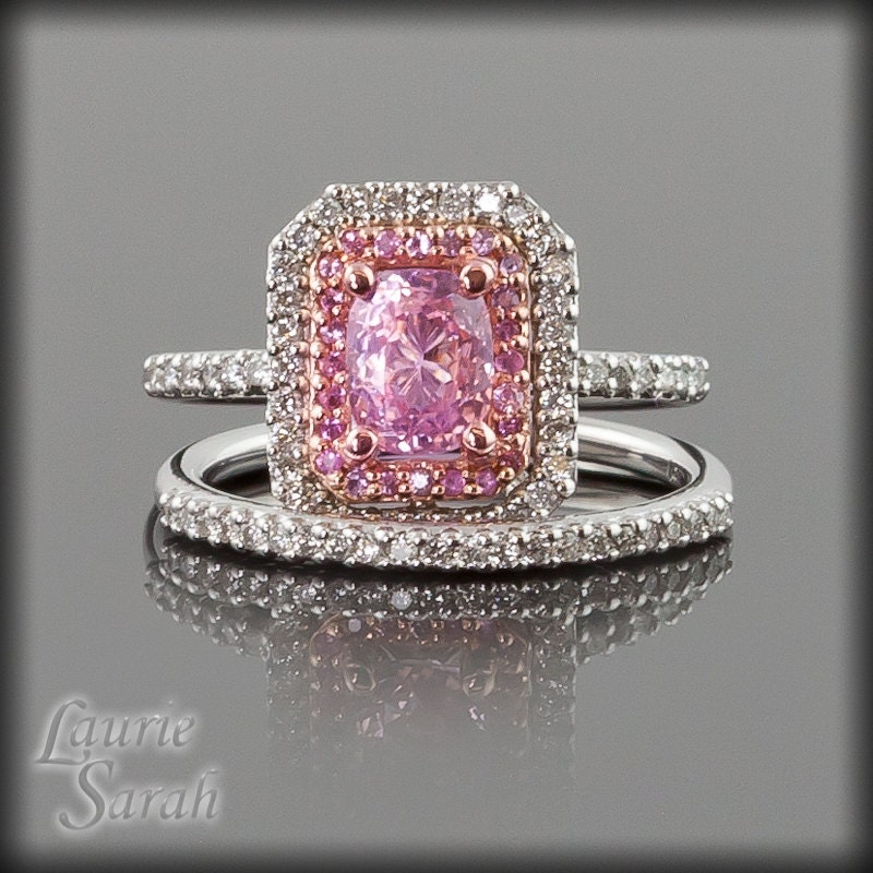 Pink sapphire and diamond engagement ring by for Pink diamond wedding rings