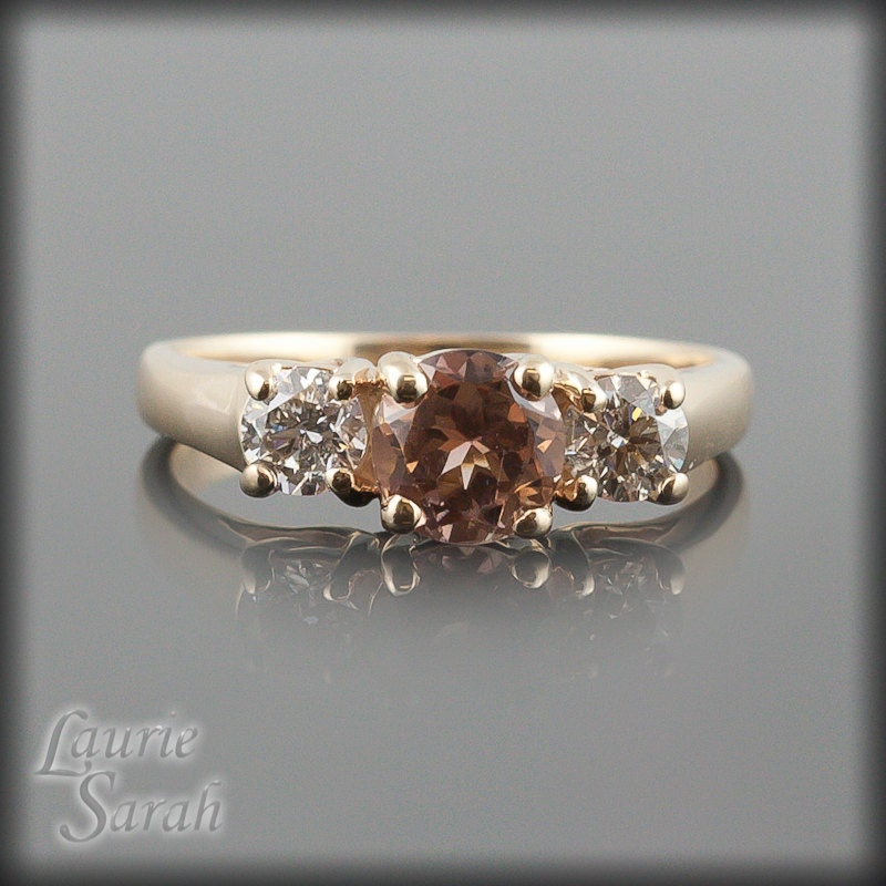 Engagement ring three stone smoky quartz and diamond for Quartz wedding rings
