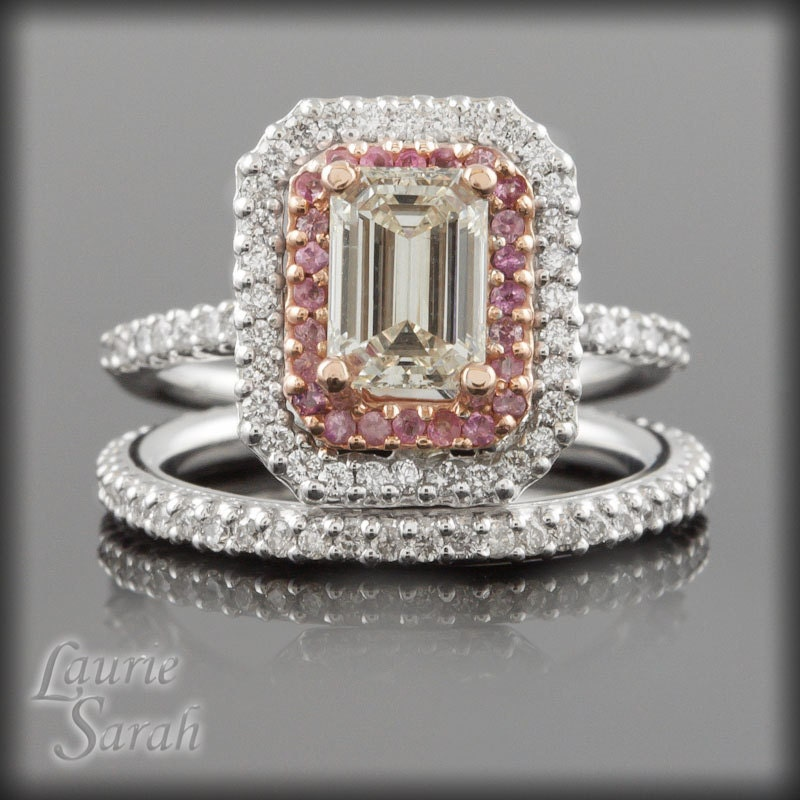 rings emerald cut and pink sapphire