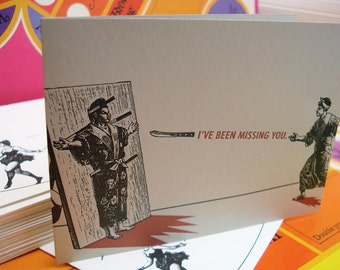 Knife Thrower Missing You - letterpress greeting