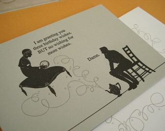 Genie - letterpress birthday greeting