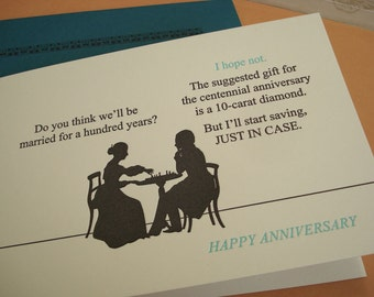 Just in Case - letterpress anniversary greeting