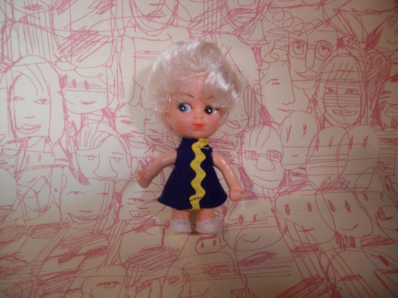 Cute Blonde Vintage Mini Doll Liddle Kiddle Knock-Off