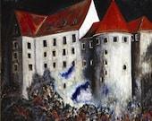 Art print Loket Castle charcoal black cranberry red blue gothic fairytale art dreamy